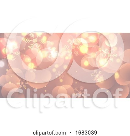 Christmas Banner with Snowflakes and Bokeh Lights by KJ Pargeter
