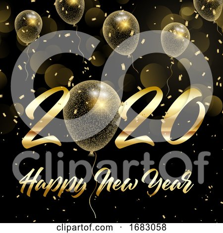 Happy New Year Background with Gold Glittery Balloons by KJ Pargeter