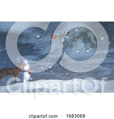 3D Christmas Landscape with Snowman, Reindeer and Santa in the Sky by KJ Pargeter