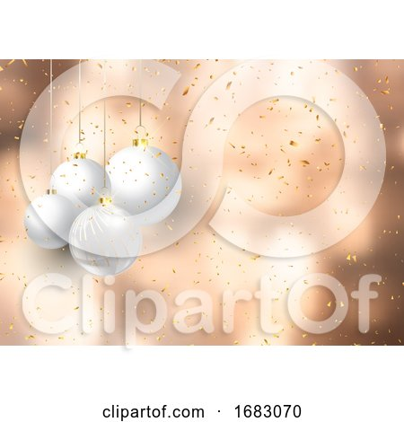 Christmas Baubles on Confetti Background by KJ Pargeter