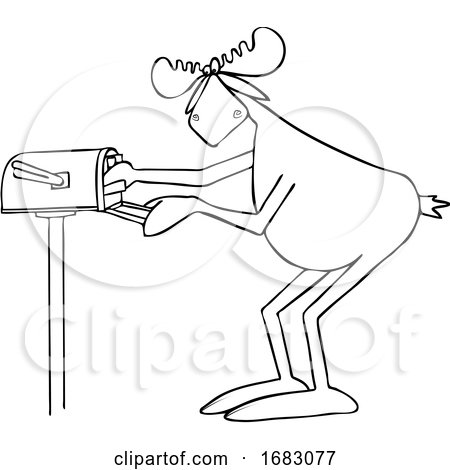 Cartoon Moose Checking the Mail by djart