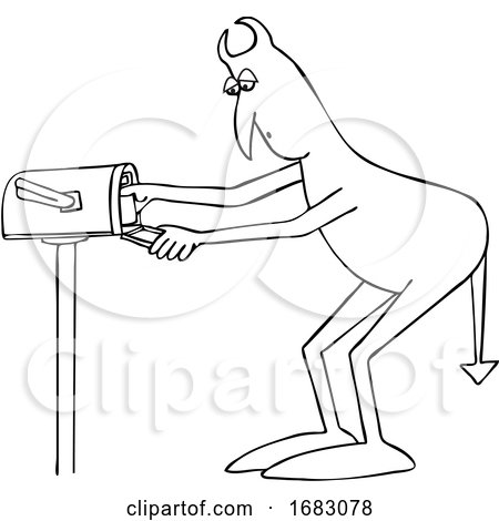 Cartoon Devil Checking the Mail by djart