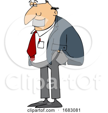 Cartoon Business Man with Duct Tape over His Mouth by djart