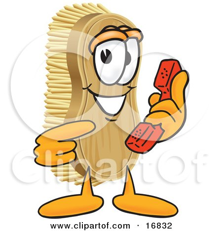 Clipart Picture of a Scrub Brush Mascot Cartoon Character Holding and Pointing to a Red Phone by Toons4Biz