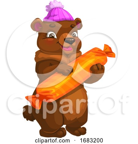Cute Bear Holding Candy by Vector Tradition SM