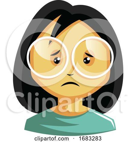 Girl Wearing White Glasses Is Feeling Emotional Illustration by Morphart Creations