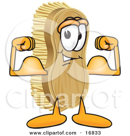 Clipart Picture of a Scrub Brush Mascot Cartoon Character Flexing His Strong Bicep Arm Muscles by Toons4Biz