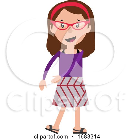 Cheerful Teenage Dancing Girl with a Red Glasses Illustration by Morphart Creations