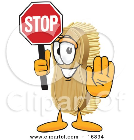 Clipart Picture of a Scrub Brush Mascot Cartoon Character Holding a Stop Sign by Toons4Biz
