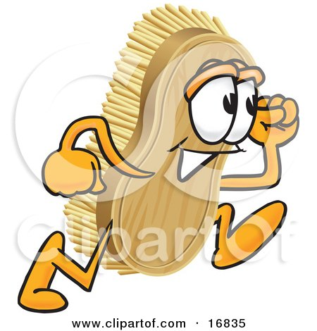 Clipart Picture of a Scrub Brush Mascot Cartoon Character Running by Toons4Biz