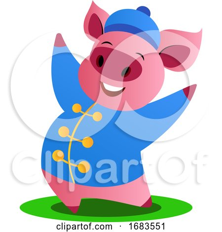 Cartoon Pig in Blue Chinese Suit by Morphart Creations