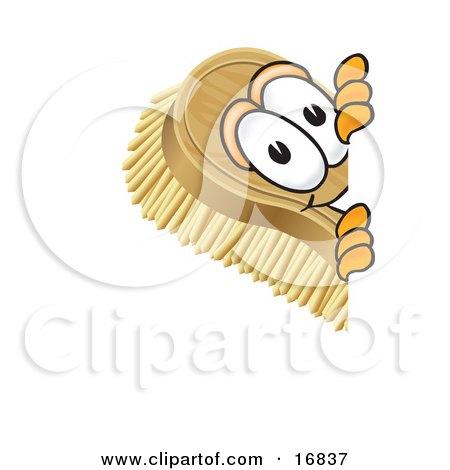 Clipart Picture of a Scrub Brush Mascot Cartoon Character Peeking Around a Corner by Toons4Biz