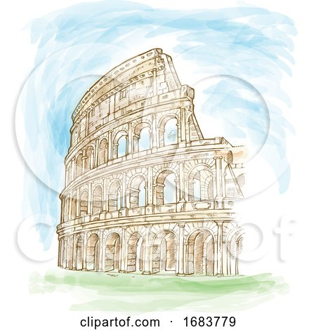 Roman Colosseum Watercolor Hand Draw by Domenico Condello