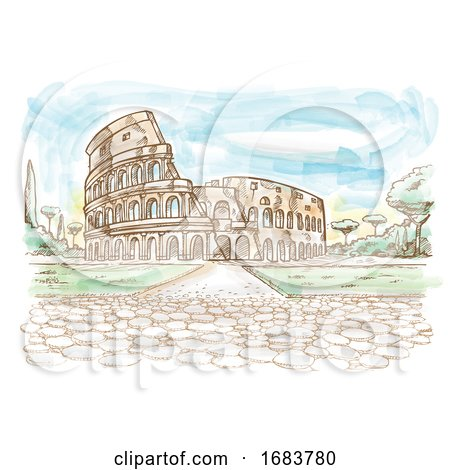 Rome Colosseum Hand Drawn Watercolor by Domenico Condello