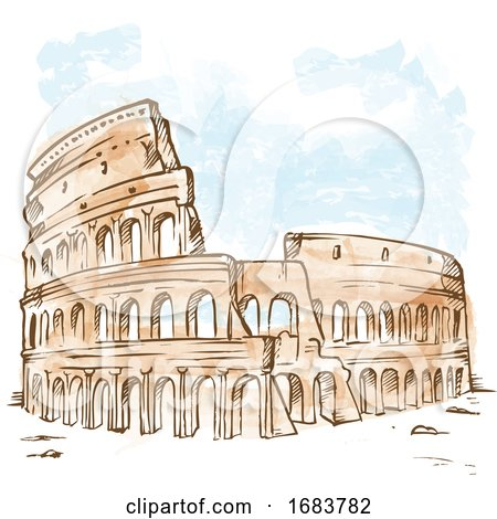 Watercolor Roman Colosseum by Domenico Condello