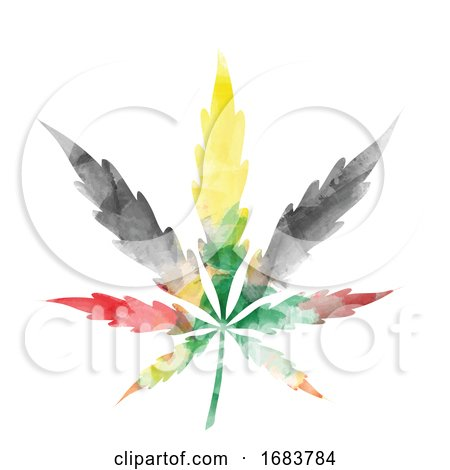 Jamaican Colored Watercolor Cannabis Leaf Posters, Art Prints