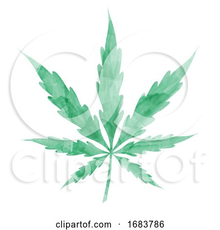 Green Watercolor Cannabis Leaf Posters, Art Prints