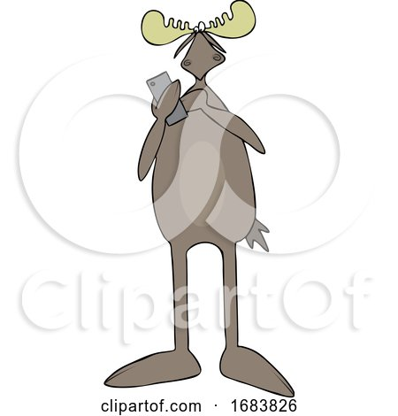 Cartoon Moose Texting by djart