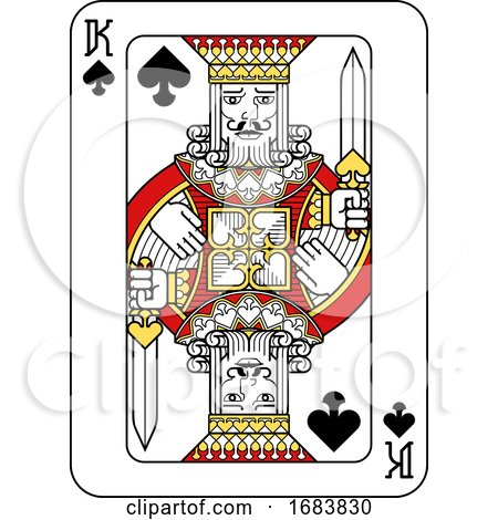 Playing Card King of Spades Red Yellow and Black by AtStockIllustration