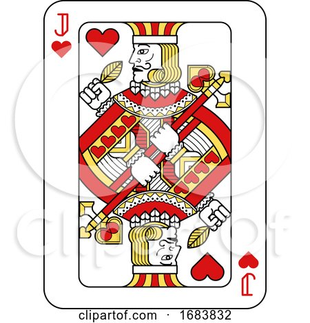 Playing Card Jack of Hearts Red Yellow and Black by AtStockIllustration