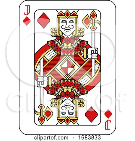 Playing Card Jack of Diamonds Red Yellow and Black by AtStockIllustration