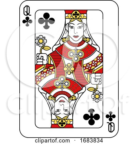 Playing Card Queen of Clubs Red Yellow and Black by AtStockIllustration