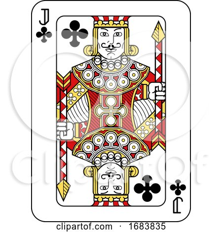 Playing Card Jack of Clubs Red Yellow and Black by AtStockIllustration