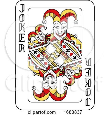 Playing Card Joker Red Yellow and Black by AtStockIllustration