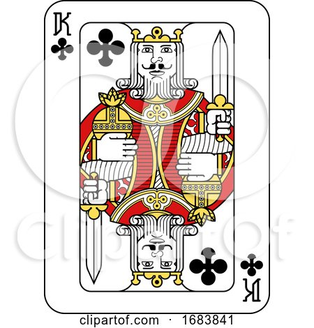 Playing Card King of Clubs Red Yellow and Black by AtStockIllustration
