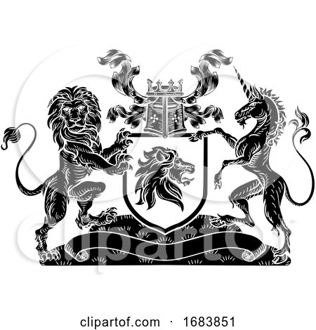 Crest Lion Unicorn Heraldic Shield Coat of Arms by AtStockIllustration