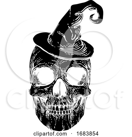 Halloween Skull in Witch Hat Posters, Art Prints