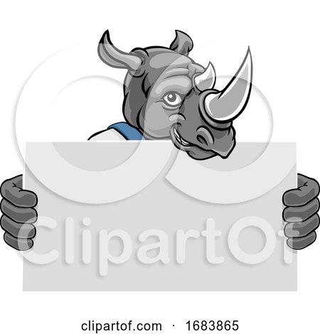 Rhino Cartoon Mascot Handyman Holding Sign by AtStockIllustration