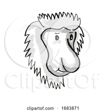 Proboscis Monkey Endangered Wildlife Cartoon Mono Line Drawing Posters, Art Prints