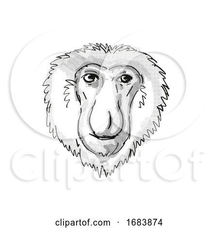Proboscis Monkey Endangered Wildlife Cartoon Retro Drawing by patrimonio