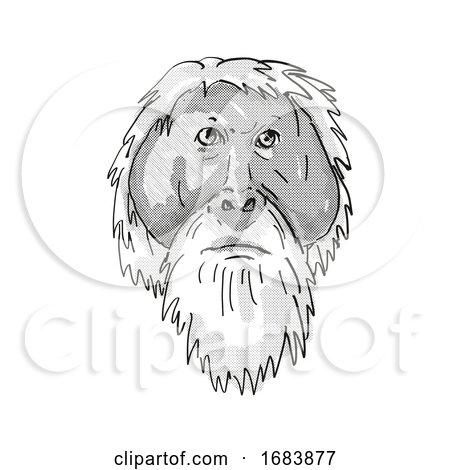Tapanuli Orang-utan or Pongo Tapanuliensis Endangered Wildlife Cartoon Retro Drawing Posters, Art Prints