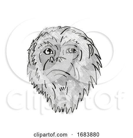 Yucatan Black Howler Monkey Cartoon Retro Drawing Posters, Art Prints