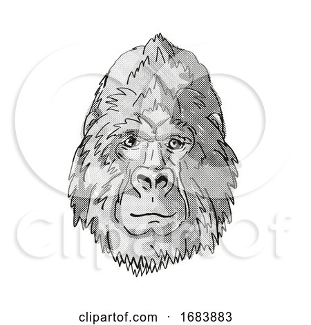 Silver Back or Mountain Gorilla Cartoon Retro Drawing Posters, Art Prints