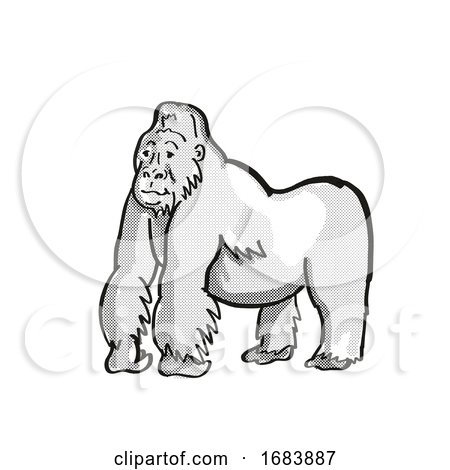 Mountain Silver Back Gorilla Endangered Wildlife Cartoon Mono Line Drawing Posters, Art Prints