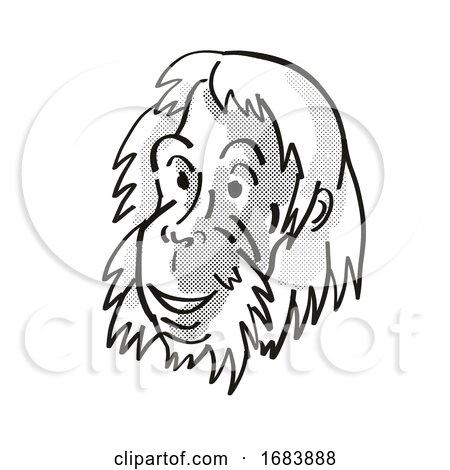 Sumatran Orangutan Endangered Wildlife Cartoon Mono Line Drawing by patrimonio