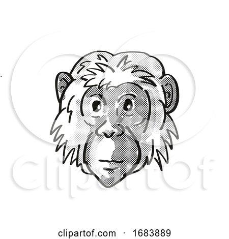 Bonobo or Pan Paniscus Endangered Wildlife Cartoon Mono Line Drawing by patrimonio
