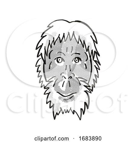 Sumatran Orang-utan or Pongo Abelii Endangered Wildlife Cartoon Mono Line Drawing Posters, Art Prints
