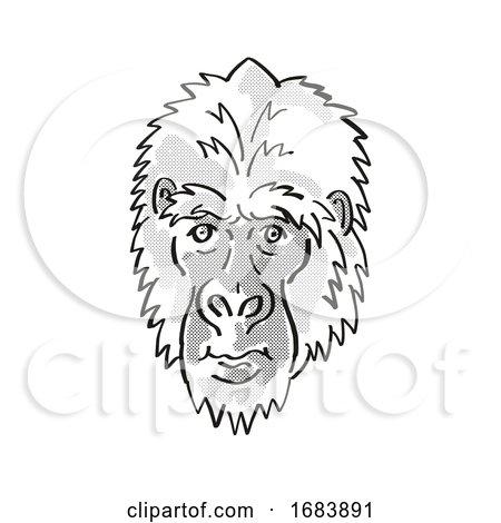 Eastern Gorilla or Gorilla Berengei Endangered Wildlife Cartoon Mono Line Drawing Posters, Art Prints