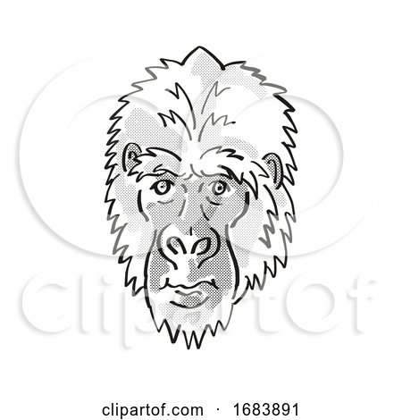 Eastern Gorilla or Gorilla Berengei Endangered Wildlife Cartoon Mono Line Drawing by patrimonio