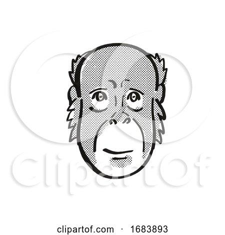 Bornean Orang-utan Endangered Wildlife Cartoon Mono Line Drawing Posters, Art Prints