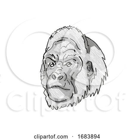 Western Lowland Gorilla Endangered Wildlife Cartoon Retro Drawing by patrimonio