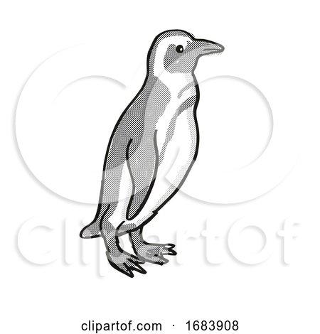 African Penguin or Spheniscus Demersus Endangered Wildlife Cartoon Mono Line Drawing by patrimonio