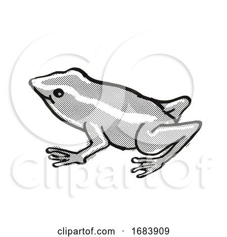 Monte Iberia Eleuth Frog Endangered Wildlife Cartoon Mono Line Drawing by patrimonio
