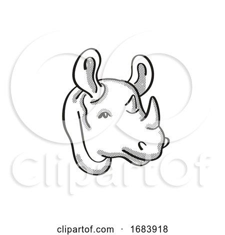 Black Rhinoceros Endangered Wildlife Cartoon Mono Line Drawing by patrimonio