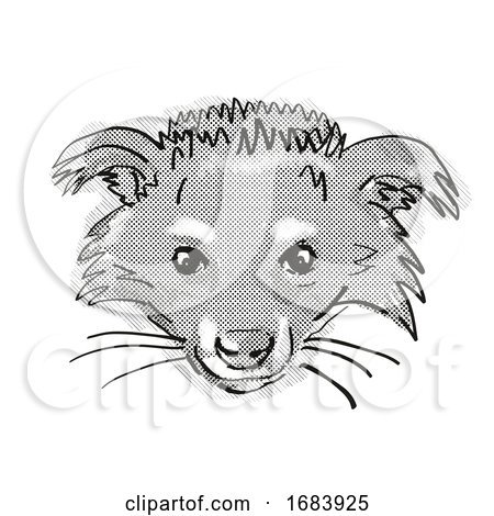 Binturong or Arctictis Binturong Endangered Wildlife Cartoon Retro Drawing by patrimonio