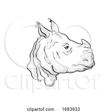 Indian Rhinoceros Endangered Wildlife Cartoon Retro Drawing by patrimonio